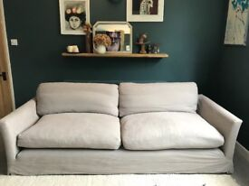 Sofadotcom four seat sofa in stone brushed linen mix, good condition