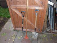 Garden Spade, Fork and Lawn Rake