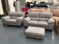 Ex-display DFS Fiji grey leather 2 seater sofa, cuddler chair and footstool