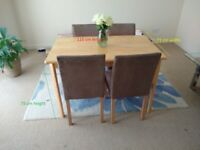 Dinning Table and 4 Faux Suede Chairs