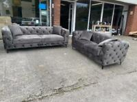 BRAND NEW CHESTERFIELD 3 and 2 SEATER SOFA GREY PLUSH VELVET FABRIC BUTTONS GRAY STEEL