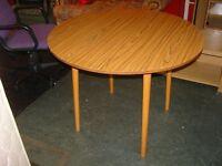 Circular Wood Finish Drop Leaf Table