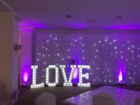 Venue Dressing for your Wedding - Chair Cover Hire, Twinkle Backdrops, LED Dance Floor Hire