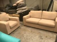 Brand new beige 3 seater sofa with matching armchair
