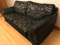 Black patterned 3 seater sofas