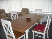Oak Top Dinning table plus four chars