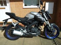 *** SOLD *** YAMAHA MT 125 ( 16 REG ) SILVER / ABS / ONE OWNER *** VERY LOW MILEAGE ***