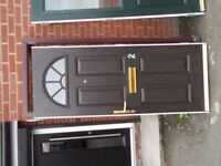 Brown Composite Door, With No Hinges or Lock. **COMES WITH FRAME**