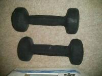 2kg/pair (2x1kg) cast dumbells weights