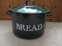 Vintage Style Enamel Family Size Bread Bin/Large Pot Dark Green