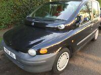 Fiat Multipla 110 SX JTD 1910cc Turbo Diesel 5 speed manual Disabled Access Y Reg 28/03/2001 Black