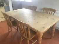 Old pine table and 4 chairs