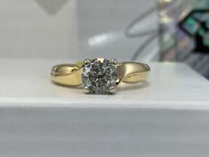 #306 14K WOW! Yellow & White Gold 1.01CT Brilliant Cut Diamond Solitaire Engagement Ring *SIZE 4 3/4* APPRAISED AT $7450