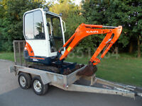 KUBOTA KX36-3 2010 mini digger with or without Indespension trailer