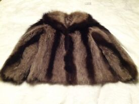 Vintage raccoon fur jacket, Jacques Saint Laurent, beautiful markings.