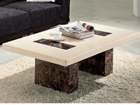 Strasbourg coffee / occasional table in cream and brown marble see photo , cost 599 in d f s