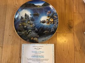 Underwater Paradise Danbury Mint Plates with 22 carat gold rims. Limited edition of 75 firing days.