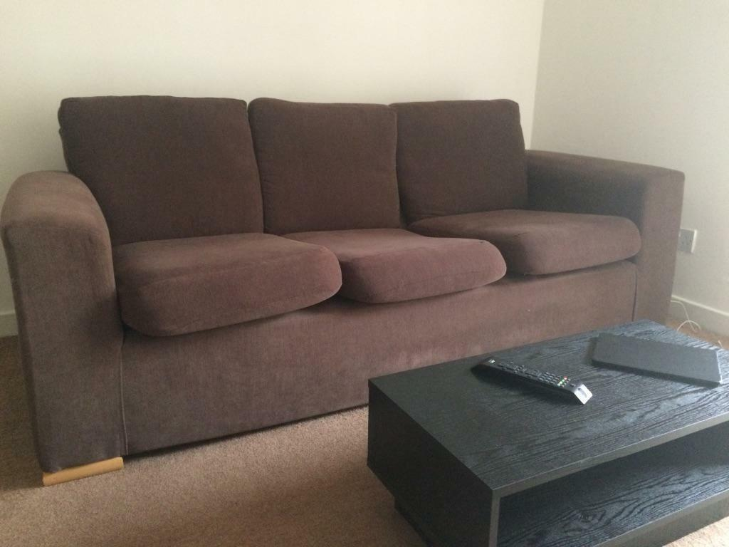 3 And 2 Seater Brown Fabric Suite In Glasgow City Centre