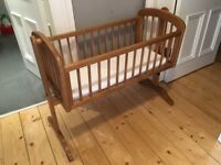John Lewis swinging cot bed/ crib with mattress (excellent good condition)