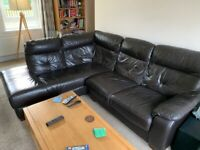 Leather corner sofa (L shape)