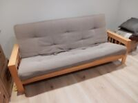 Large Wood Framed Bed Settee - Light Brown - FREE