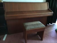 BENTLEY COMPACT PIANO & STOOL FINISHED IN MAHOGANY SATIN