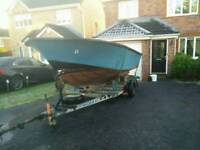 18ft fibre glass boat with trailer