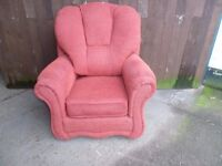 Red Soft Fabric Armchair Delivery Available