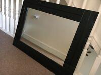 Black glass beveled mirror