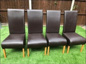 4 x BROWN FAUX LEATHER DINING CHAIRS