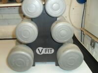 DUMBBELL WEIGHTS SET & STAND/RACK