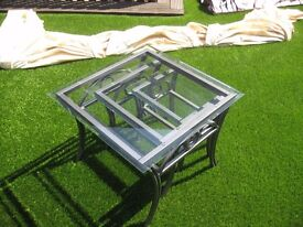 Nest of (x3) Glass Topped 'Coffee' Tables