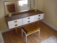 Retro Dressing table, stool and matching bedside cabinet