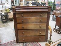 VINTAGE LARGE CHEST OF DRAWERS ~ TALLBOY. 6 DRAWERS. IDEAL AS IS OR PAINTED.VIEW/DELIVERY AVAILABLE