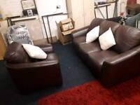 Real leather *3 seater sofa plus chair *BROWN *