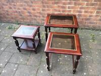 NEST OF TABLES-VINTAGE MAHOGANY WOOD TABLES WITH GLASS INSERTS. SHABBY CHIC TABLE UPCYCLE FURNITURE