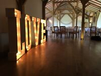 4ft Marquee LOVE Light up letters - wedding and event hire for Northamptonshire and beyond
