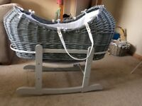 Grey Moses Basket with Mattress