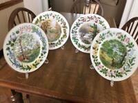 Selection of 4 seasonal ornamental china plates - only £5