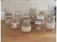 10 Decorated Wedding Glass Jars. Burlap And Lace Inspired
