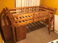 For sale: Children's Wooden Cabin Bed with desk. Mattress not included