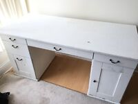 Large white painted wood computer desk