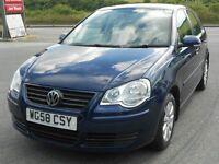 VW POLO 1.4 SE 5 DOOR, 2008 '58 REG, FSH - 11 STAMPS, PETROL, MANUAL, ALLOYS, A/C, CD, NEW MOT, VGC