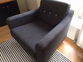 Perfect condition charcoal grey armchair