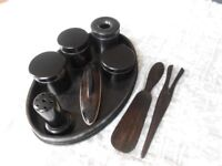 Vintage Ebony 9 piece Dressing Table Set