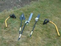 Petrol power unit tools. Strimmers, hedge cutter, brushwood and pruning chain saw