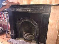 Slate fire surround and slate hearth