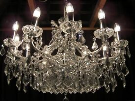 ABSOLUTELY STUNNING 3 FOOT WIDE CRYSTAL CHANDELIER
