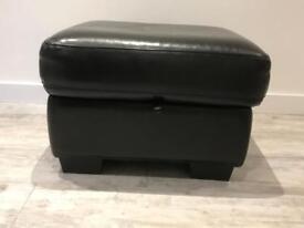 Black leather storage foot stool