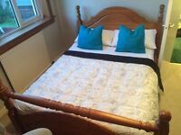 Pine double Bed with matress, chest of drawers x2 plus wardrobe. Full bedroom set